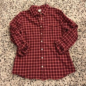 J. Crew red gingham button down shirt